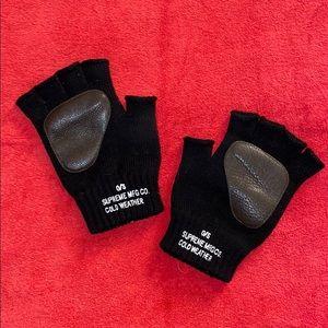 FW11 SUPREME Merino Wool Leather Fingerless Gloves